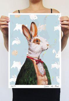 Rabbit in Smoking Jacket 11X16 Art Poster Digital by CocktailZoo, $22.00