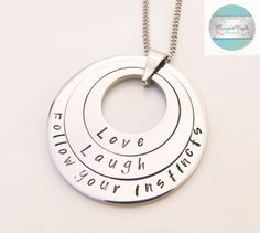 Love Stamped Silver Jewelry with Heart Charm by CoorabellCrafts Love Stamps, Silver Jewelry, Unique Jewelry, Hand Stamped Jewelry, Felt Hearts, Gifts For Mum, Christmas 2016, Heart Charm, Washer Necklace