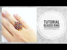 #МК - Кольцо Ромб из бисера и биконусов | #Tutorial - Ring Rhombus bead and bicone - YouTube Diy Beaded Rings, Beaded Jewelry, Beaded Bracelets, Diy Jewelry, Tutorial Anillo, Ring Tutorial, Diy Bracelets How To Make, How To Make Rings, Polymer Clay Earrings
