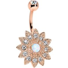White Faux Opal Clear Rose Gold Plated Fancy Sparkle Flower Belly Ring We all know how lovely a little extra sparkle can be in your navel piercing, so make sure to get the best sparkle power possible Belly Button Jewelry, Dangle Belly Rings, Belly Button Rings, Opal Body Jewelry, Body Jewellery, Baby Jewelry, Bellybutton Piercings, Piercing Ring, Piercing Ideas