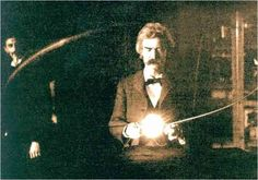 Time Machine - a defining moment in the past- Incredible photo of Mark Twain in the laboratory of Nicola Tesla. 1894.