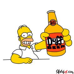 How To Draw Homer With A Duff Beer Bottle Step By Step Drawing Tutorials Beer Bottle Drawing Duff Beer Homer Simpson Drawing