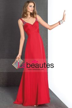 2015 V Neck Prom Dresses With Ruffles And Beads Floor Length Chiffon