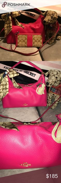 Coach Pink hobo Pink Ruby pebbled leather Celeste Hobo crossbody or shoulder bag! This bag is so soft and luxurious with gold accents ❤️ nwt also have a matching Zippy wallet I have this in blue too ❤️ smoke free home Coach Bags Hobos