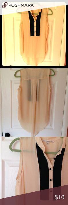 Sheer high low top Very pretty gently worn peachy sheer top. Would look great with black leggings. Rachel Roy Tops Blouses