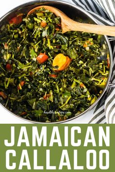 Jamaican Callaloo is notorious weed, a valuable source of iron, calcium, folate, potassium, magnesium, vitamin A, and Vitamin C. Purchase callaloo in the Caribbean, Asian, and /or International supermarkets. Perfect healthy side dish for a tropical breakfast, lunch or dinner. Jamaican Callaloo Recipe, Veggie Recipes, Dessert Recipes, Vegan Side Dishes, Caribbean Recipes, Best Dinner Recipes, Easy Meals, Veggies, Lunch
