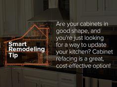 Smart Remodeling Tip: Cabinet refacing is a great, cost-effective option! Refacing Kitchen Cabinets, Cabinet Refacing, New Cabinet, Swinging Doors, Antique Doors, Basement Remodeling, Home Renovation, Kitchen Remodel, Tips