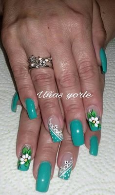 Turquoise Nail Art, Aqua Nails, Purple Nail Art, Green Nails, Beautiful Nail Designs, Beautiful Nail Art, Spring Nail Art, Cute Nail Art, Rhinestone Nails