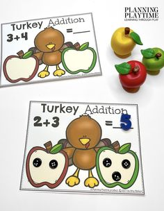 Help this Apple eating Turkey Count & Add the Seeds. - Kindergarten Morning Tubs Kindergarten Age, Kindergarten Activities, Activities For Kids, Preschool, Kid Check, Learning Through Play, Autumn Theme, Literacy, November