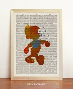 Pinocchio Watercolor Disney Print Art Poster Alternative Room Decor Blue Yellow Bedroom Gift Kids Upcycled Dictionary Book A4 8.3 x 11.7 in