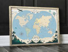 Mapa Mundi Vintage Viaje Poster Travel Poster por GraphicHomeDesign