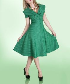 Look at this #zulilyfind! Green Polka Dot Esmeralda Dress - Women & Plus #zulilyfinds