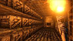 (Ark: Survival Evolved)  5x2 footprint, 37 storage boxes, 1 bookcase, plus room for 1 fridge.