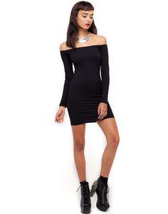 Black Long Sleeve Dress Off Shoulder
