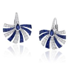Stenzhorn Persuasion hoop earrings in white gold with sapphires and diamonds