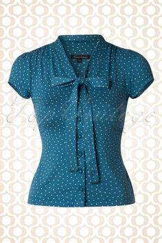 King Louie Bow Blouse Blue Polkadot 16538 20141216 0005W