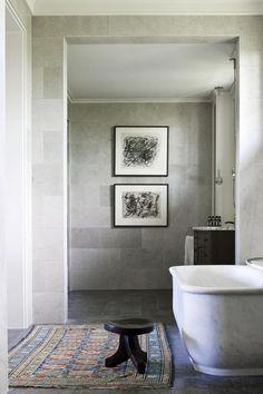 A perfectly masculine bathroom by Australia based designer Thomas Hamel. A perfectly masculine bathr Stone Bathroom, Master Bathroom, Relaxing Bathroom, Bathroom Art, Washroom, Bathroom Vanities, Bathroom Furniture, Bathroom Interior, Sinks