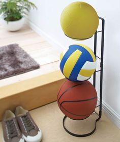 Sports Ball Storage Stand at STORE. Great for garages, sheds or sports halls, our ball storage stand comes direct from Japa. Garage Hooks, Garage Storage Racks, Boy Room, Kids Room, Time To Tidy Up, Ball Storage, Custom Closets, Ballon, Bedroom Themes