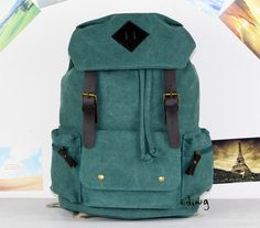 Green Canvas Backpack by Edingstudio on Etsy