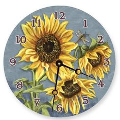 Brighten your kitchen with the Lexington Studios Tuscan Sunflowers Wall Clock . This printed wall clock features yellow sunflowers on a blue background. Tuscan Design, Tuscan Style, Fixer Upper, Sunflower Themed Kitchen, Sunflower House, Sunflower Art, Kitchen Drawing, Studios, Ikea