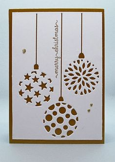 handmade Christmas card from My Card Attic . gold mat cardstock topped by a wh.handmade Christmas card from My Card Attic . gold mat cardstock topped by a white panel with negative space lacy baubles Cricut Christmas Cards, Simple Christmas Cards, Christmas Card Crafts, Homemade Christmas Cards, Cricut Cards, Homemade Cards, Christmas Card Designs, Chrismas Cards, Merry Christmas Card
