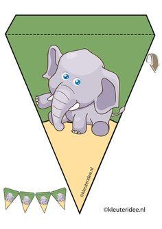 Olifant slinger, thema dierentuin, juf Petra van kleuteridee, elephant guirlande, Preschool zoo theme, free printable