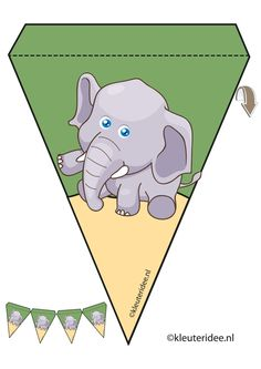 olifant slinger, thema dierentuin, juf Petra van kleuteridee, elephant guirlande, Preschool zoo theme, free printable.