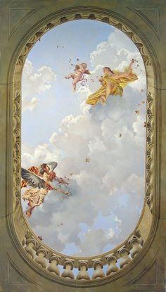 Nice impression of depth. Angel Wallpaper, Wallpaper Backgrounds, Wallpaper Art, Aesthetic Painting, Aesthetic Art, Aesthetic Pastel Wallpaper, Aesthetic Wallpapers, Rennaissance Art, Baroque Painting