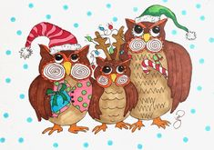 Fearless Friday, Festive Owl Family | The Painted Apron Holiday Crafts, Holiday Fun, Festive, Fearless Friday, Art Tutorials, Painting Tutorials, Whimsical Owl, Owl Family, Baby Owls