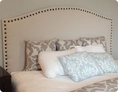 DIY Home Decor | DIY Drop Cloth Upholstered Headboard with Nailhead Trim {Pottery Barn inspired}