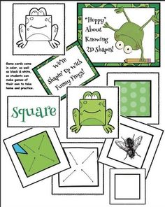 Frog activities: shape games with a frog theme. 2d Shapes Activities, Frog Activities, 2d Shape Games, Frog Theme, Frog Crafts, Funny Frogs, Shape Crafts, Shaped Cards, Matching Cards