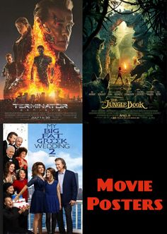 W7 Lesson 22 Ex 1. The Terinator poster uses a tough metallic font with Arnie up front and lots of flames. The Jungle Book looks adventurous with perspective to draw your eye and kid friendly type face. The Fat Greek Wedding is all happy blue sky and the social distance is portrayed with allocated space. The font has a familiar Greek look to it. 3 movies that you can tell at a glance who they are aimed for.