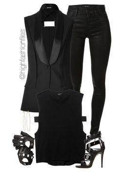 """""""X"""" by highfashionfiles ❤ liked on Polyvore featuring moda, J Brand, Maison Margiela, Theyskens' Theory, Giuseppe Zanotti, Dsquared2, Aspinal of London y Dean Harris"""