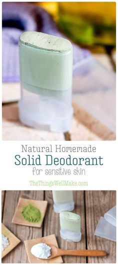 Soothing, yet effective, this natural homemade deodorant stick works without baking soda nor coconut oil and uses zinc to help combat odors for those with sensitive skin. #deodorant #natural #DIY #natural