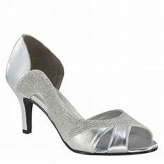 f6e097205910 low heal womens silver peep toe pumps