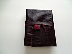 Wine Leather Journal with African Bead Closing by artfuladdie on Etsy