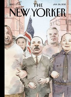 New Yorker - January 2015 - Barry Blitt illustration: Eric Garner and Michael Brown Join MLK as Civil Rights Martyrs on New Yorker's Cover The New Yorker, New Yorker Covers, Magazine Wall, Print Magazine, Magazine Covers, Storyboard, We Are The World, African American Art, American Flag