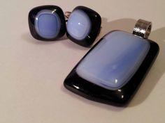 Üveghíd design glass - üvegékszer kék fekete szett
