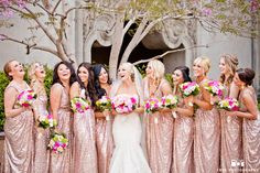 Decent prices San Diego based Makeup Artist On The Go offers a large variety of makeup services including; Fashion, Commercial, Film & TV, Bridal, Fantasy & Special Effects Gold Bridesmaid Dresses, Wedding Bridesmaids, Wedding Dresses, Pink Sequin, Gold Sequins, Gold Wedding, Dream Wedding, Sequin Wedding, Couture Wedding Gowns