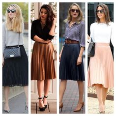 I've previously spoken about sweatshirts on pleated skirts. Here's some inspiration of simple ways to sport a pleated skirt for an elegant look. Fashion Mode, Work Fashion, Modest Fashion, Skirt Fashion, Fashion Outfits, Womens Fashion, Vetements Clothing, Work Skirts, Fall Skirts