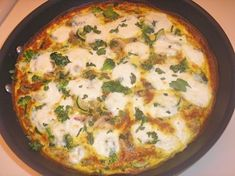 Vegetable Frittata with Fresh Mozzarella and Basil - Click for Recipe