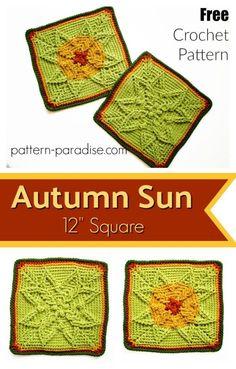 Free Crochet Pattern: Autumn Sun Crochet Square   Pattern Paradise