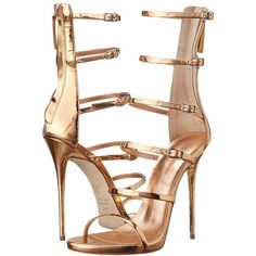 Giuseppe Zanotti E60236 Women's Shoes ($950) ❤ liked on Polyvore featuring shoes, sandals, heels, gold, ankle strap heel sandals, platform shoes, metallic platform sandals, giuseppe zanotti sandals and metallic sandals