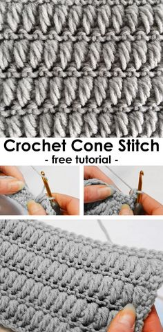 Crochet Cone Stitch – Crochet Stitches & Tips – efcraft Stitch Crochet, Crochet Motifs, Crochet Stitches Patterns, Tunisian Crochet, Learn To Crochet, Knitting Stitches, Stitch Patterns, Knitting Patterns, Crochet Crafts