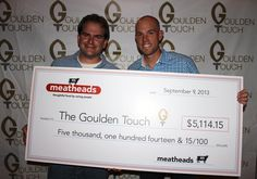 "Meatheads would like to thank everyone for their support this summer by ordering the ""Goulden Burger"". Together we were able to donate over $5,000 to The Goulden Touch to support Working In The Schools (WITS). Here we are presenting the check to Robbie Gould! #gouldenburger #robbiegould"