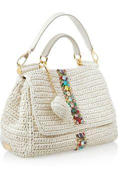 Crochet bag / Dolce & Gabbana Raffia and leather shoulder bag Crochet Tote, Crochet Handbags, Crochet Purses, Diy Crochet, Diy Accessoires, Knitted Bags, Crochet Accessories, Handmade Bags, Leather Shoulder Bag