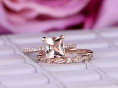 Princess Morganite Ring Bridal Sets Art Deco Diamond Wedding Band 14K Rose Gold 6.5mm - 6.5 / 14K Rose Gold