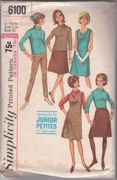 MOMSPatterns Vintage Sewing Patterns - Simplicity 6100 Vintage 60's Sewing Pattern DIG IT Petite Roll Collar Blouse, A-line Skirt, Tapered Skinny Leg Audrey Hepburn Pants, Jumper & Dress Size 11