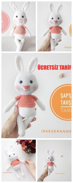 Amigurumi Smacking Rabbit Making - Amigurumi - Turkish Free .- Amigurumi Smacking Rabbit Making – Amigurumi – Türkische kostenlose Rezepte – … Amigurumi Smacking Rabbit Making – Amigurumi – Turkish Free Recipes – …, - Crochet Animals, Crochet Toys, Amigurumi For Beginners, Cat Amigurumi, Free Ads, Diy Crafts To Sell, Free Food, Crochet Projects, Free Pattern