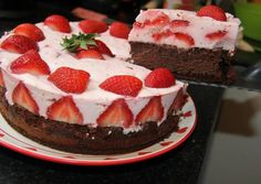 Joghurtos eper torta Jacque Pepin, What You Eat, Healthy Sweets, Relleno, Cake Cookies, Cheesecake, Food And Drink, Sugar, Baking